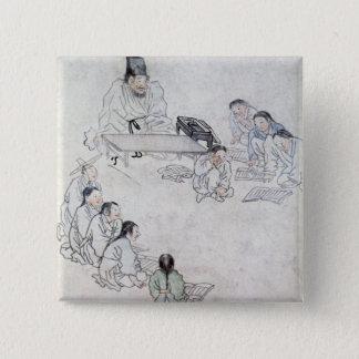 Ett Confucianklassrum (Sodang) (färgtrycket) Standard Kanpp Fyrkantig 5.1 Cm