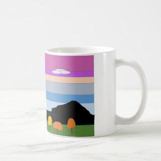 Ett färgrikt sceniskt original- grafiskt kaffemugg