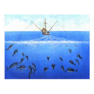 Ett fiska med drag i fartyg vykort