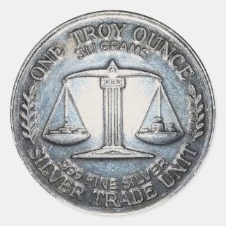 Ett fjäll för enhet för handel för silver för Troy Runt Klistermärke