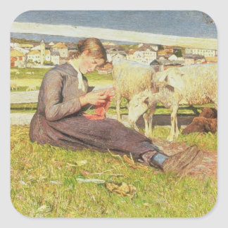 Ett flickahandarbete, 1888 (olja på kanfas) fyrkantigt klistermärke