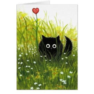 Ett kort för katt för kärlekvalentinsvart vid