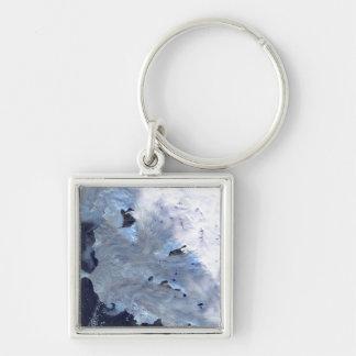 Ett litet fält av den glaciärsurroundsBaffin Fyrkantig Silverfärgad Nyckelring