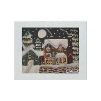 Ett Magical hus för julnattjul Sträckta Canvas Tryck