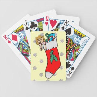 Ett mönster av snöflingor, julstrumpa spelkort