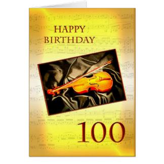 Ett musikaliskt 100. födelsedagkort med en fiol hälsningskort