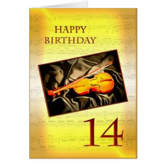 Ett musikaliskt 14th födelsedagkort med en fiol hälsningskort