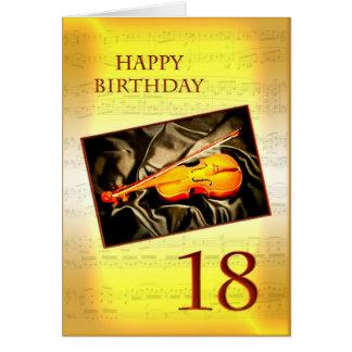 Ett musikaliskt 18th födelsedagkort med en fiol hälsningskort