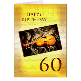 Ett musikaliskt 60th födelsedagkort med en fiol hälsningskort