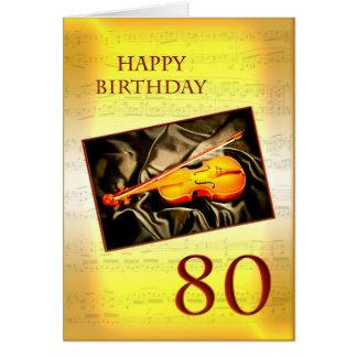 Ett musikaliskt 80th födelsedagkort med en fiol hälsningskort