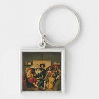 Ett musikaliskt party, c.1625 fyrkantig silverfärgad nyckelring