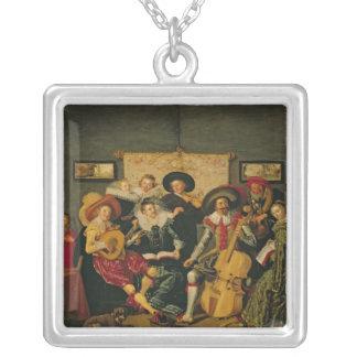 Ett musikaliskt party, c.1625 silverpläterat halsband