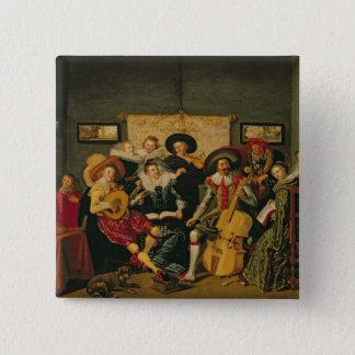 Ett musikaliskt party, c.1625 standard kanpp fyrkantig 5.1 cm