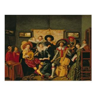 Ett musikaliskt party, c.1625 vykort