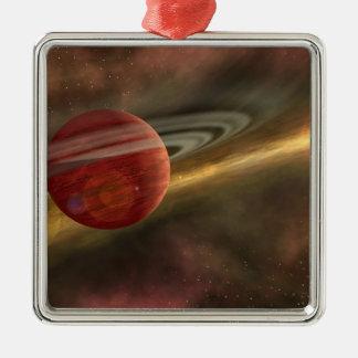 Ett newfound planet för möjlighet julgransprydnad metall