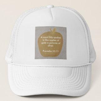 Ett ord som talas fitly, äpplen av guld, hattar keps