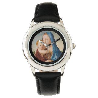 Ett porträtt av Mary och babyen Jesus Armbandsur