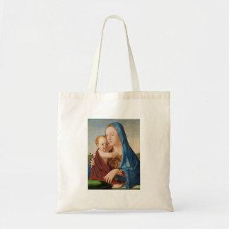 Ett porträtt av Mary och babyen Jesus Tygkasse
