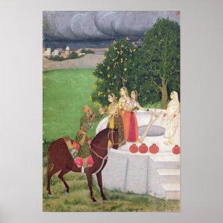 Ett Princetiggerivatten från kvinnor på en brunn Poster