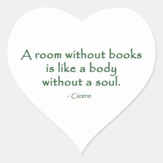 Ett rum utan bokar (Cicero) Hjärtformat Klistermärke