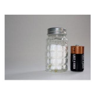 Ett salt och ett batteri vykort