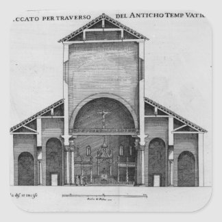 Ett tvärsnitt av den gammala Vatican kyrkan Fyrkantigt Klistermärke