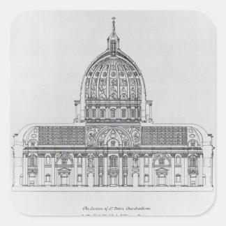Ett tvärsnitt av St Peter, Rome Fyrkantigt Klistermärke