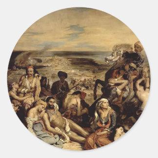 Eugene Delacroix-Platser från massakern av Chios Rund Klistermärke