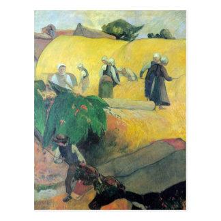 Eugène Henri Paul Gauguin - skörd i Brittany Vykort