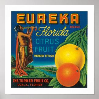 Eureka brännmärker Florida citrusfrukt Poster
