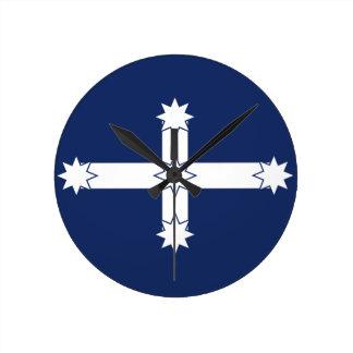 eureka flagga medium rund klocka