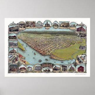 Eureka panorama- karta för CA - 1902 Poster
