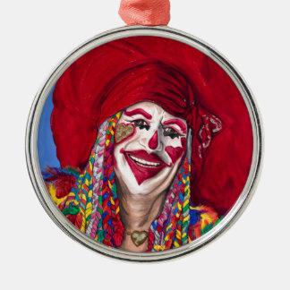 Eureka Springs clown Rund Silverfärgad Julgransprydnad