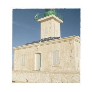 Europa frankrike, Corsica, Ile Rousse.  Fyr Anteckningsblock
