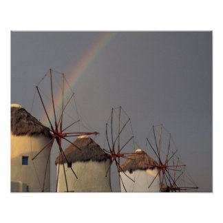 Europa Grekland, Mykonos. vind mal med regnbågen Poster