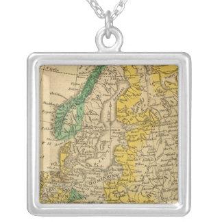 Europa karta vid Worcester Silverpläterat Halsband