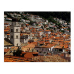 Europa Kroatien. Medeltida walled stad av Vykort