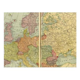 Europa med telegraferar linjer vykort