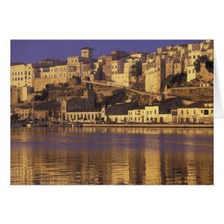 Europa Spanien, Balearics, Menorca, Mao. Gryning Hälsningskort