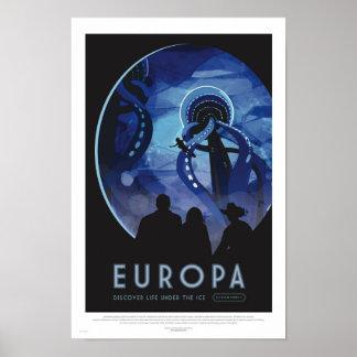 Europa turnerar - Retro utrymme reser Poster