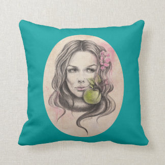 Eve|Woman-porträtt med äppledekorativ kudde
