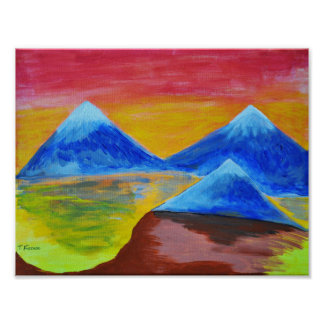 Evening acrylic painting poster