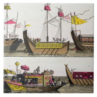 Exempel av kinesiska frakter, illustration från 'L Kakelplatta