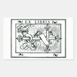 Exlibris Fleur De Lys Korsa Rektangulärt Klistermärke