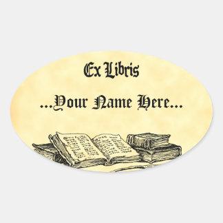 Exlibrisvintage bokar beställnings- bokägarmärke ovalt klistermärke