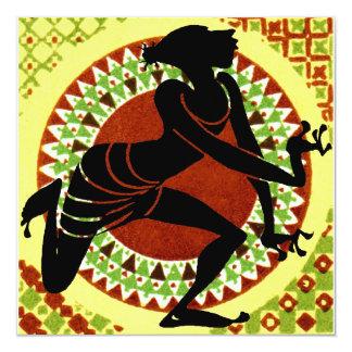 Exotisk dansare fyrkantigt 13,3 cm inbjudningskort