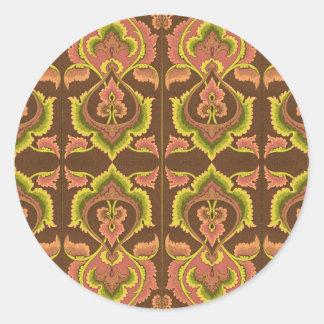 Exotisk gult för grönt för brunt för runt klistermärke