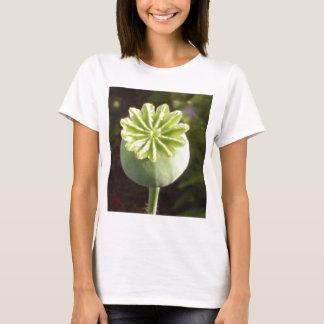 Exotisk knopp för blomma för vallmotypgrönt tee shirt