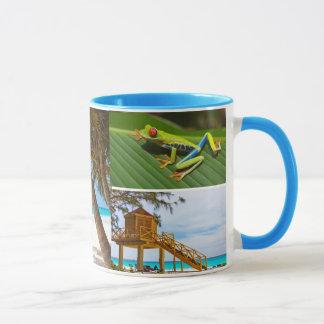 Exotisk mugg för kaffe för semesterfotoCollage