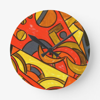 Exotisk tågresa - abstrakt konst rund klocka